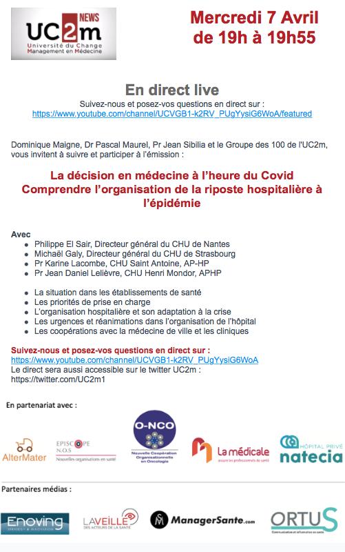 La décision en médecine à l'heure du Covid Comprendre l'organisation de la riposte hospitalière à l'épidémie - UC2M
